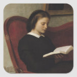 The Reader, 1861 Square Stickers