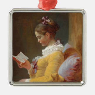 The Reader French Girl in Yellow Dress Metal Ornament