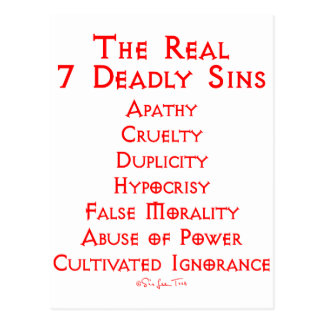 The REAL 7 Deadly Sins Postcard