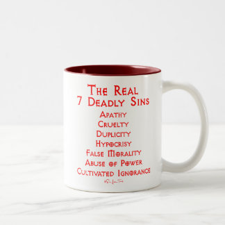 The REAL 7 Deadly Sins Two-Tone Coffee Mug
