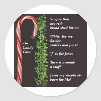 THe Real Candy Cane Meaning Classic Round Sticker