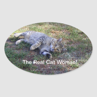 The Real cat woman Oval Sticker