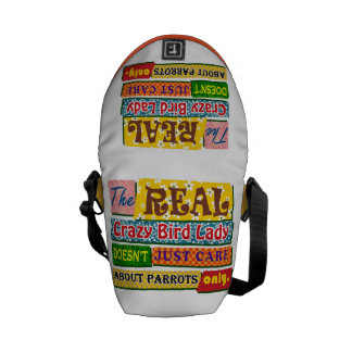 The real crazy bird lady messenger bag