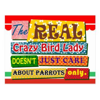 The real crazy bird lady postcard