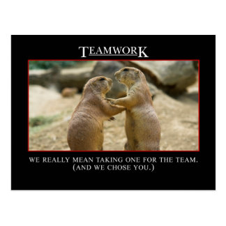 The real meaning of teamwork postcard