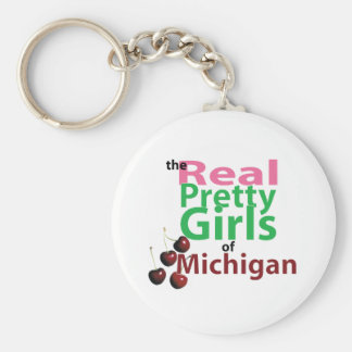 the real PRETTY GIRLS of Michigan Basic Round Button Keychain