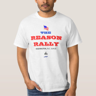 THE REASON RALLY (red and blue letters on T-shirt