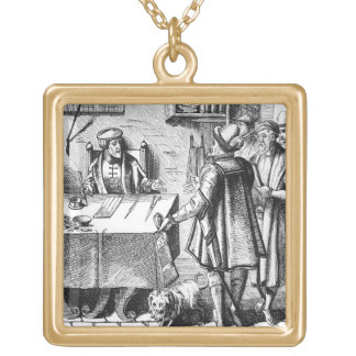 The Receiver of Taxes, after a woodcut in 'Praxis Square Pendant Necklace