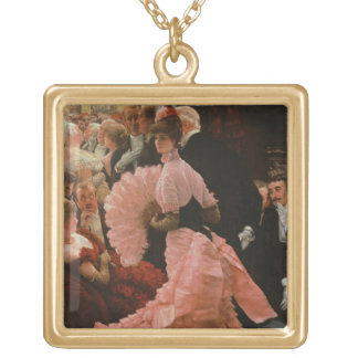 The Reception or, L'Ambitieuse (Political Woman) c Square Pendant Necklace