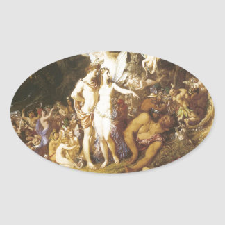 The Reconciliation Of Oberon And Titania,1847 Oval Sticker