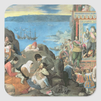 The Recovery of the Bay of San Salvador Square Sticker
