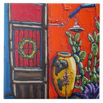 """The """"Red and Blue Doorway"""" Decorative Tile"""