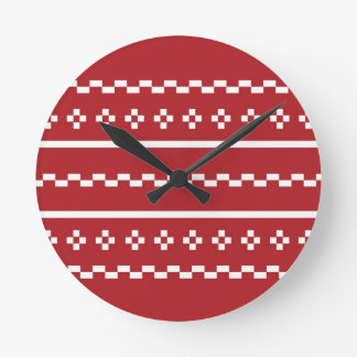 The Red and White Christmas Sweater Round Clock