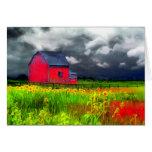 The red barn, Greeting card, barn, farm, Sunflower