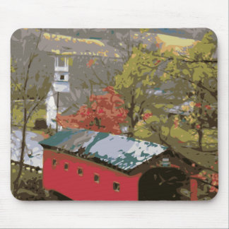 The Red Barn House Bridge Mouse Pad