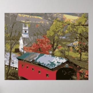 The Red Barn House Bridge Print