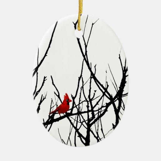 The Red Bird by Leslie Peppers Ceramic Ornament