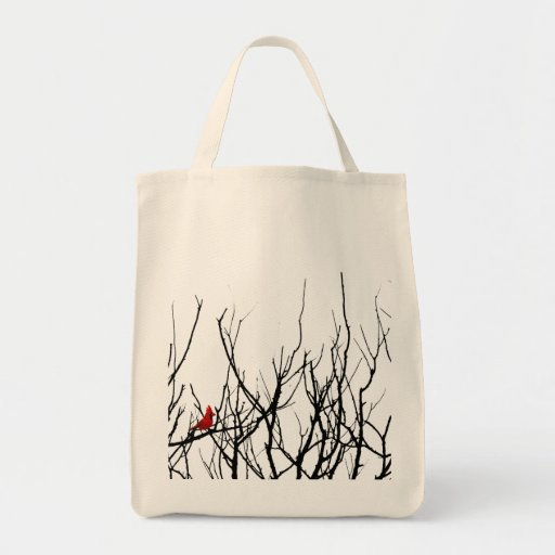 The Red Bird by Leslie Peppers Grocery Tote Bag