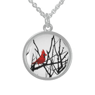 The Red Bird by Leslie Peppers Sterling Silver Necklace
