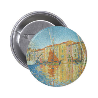 The Red Buoy by Paul Signac, Vintage Pointillism Pin
