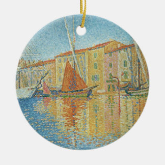 The Red Buoy by Paul Signac, Vintage Pointillism Ceramic Ornament