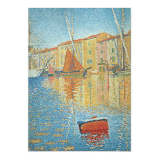 """The Red Buoy by Paul Signac, Vintage Pointillism 5"""" X 7"""" Invitation Card"""