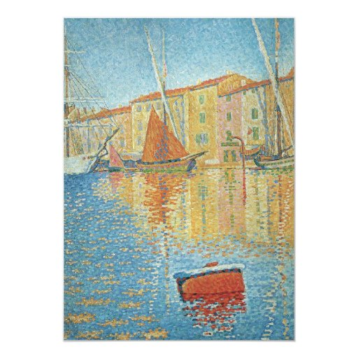 The Red Buoy by Paul Signac, Vintage Pointillism 5x7 Paper Invitation Card