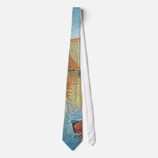 The Red Buoy by Paul Signac, Vintage Pointillism Neck Tie