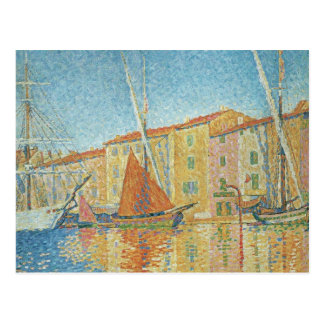 The Red Buoy by Paul Signac Vintage Pointillism Post Card