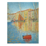 The Red Buoy by Paul Signac, Vintage Pointillism Postcard