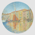 The Red Buoy by Paul Signac, Vintage Pointillism Classic Round Sticker