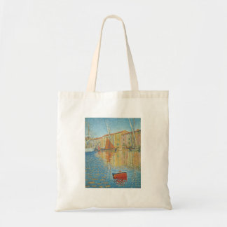 The Red Buoy by Paul Signac, Vintage Pointillism Tote Bag