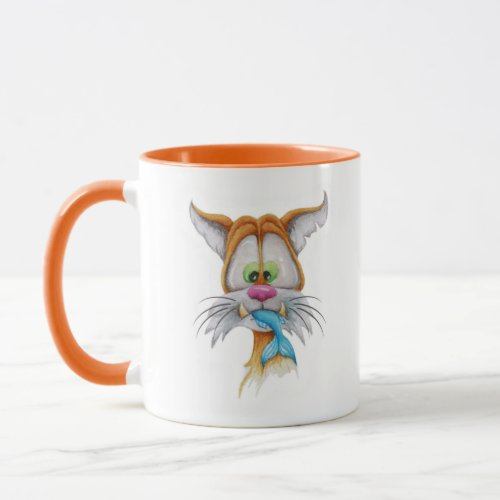 The red cat  blue fish _ watercolor painting mug