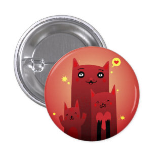 The Red Cat Family Pinback Button