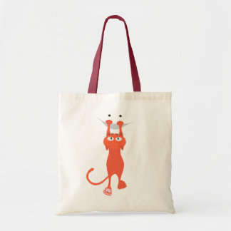 The red cat fell down, smile tote bag