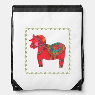 The Red Dala Horse Drawstring Bag