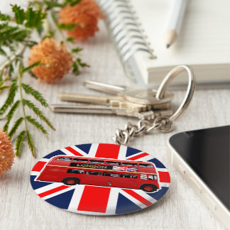 The Red Double-Decker London Bus Basic Round Button Keychain