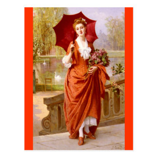 The red Dress - Caraud Postcard