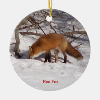The Red Fox Double-Sided Ceramic Round Christmas Ornament