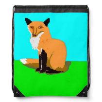 The Red Fox Drawstring Bag
