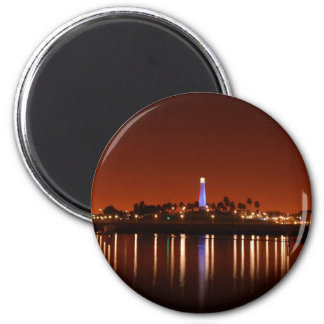 The Red Glow of Long Beach Lighthouse 2 Inch Round Magnet