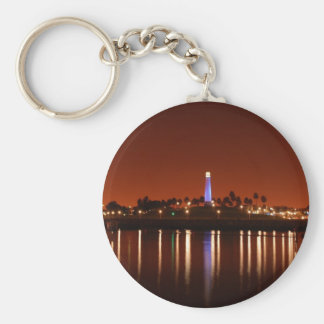 The Red Glow of Long Beach Lighthouse Keychain