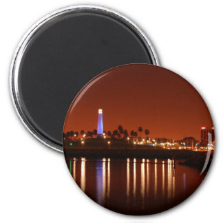The Red Glow of Long Beach Lighthouse Magnet