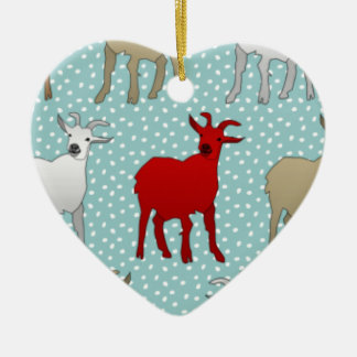 The Red Goat Ceramic Ornament
