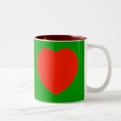 The Red Heart Mug with Green background