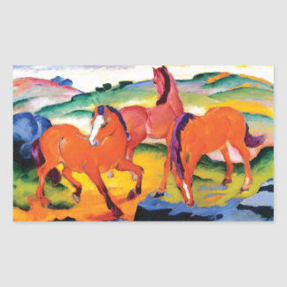 The Red Horses by Franz Marc Rectangular Sticker