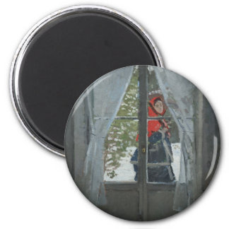 The Red Kerchief, Portrait of Mrs. Monet (1873) 2 Inch Round Magnet