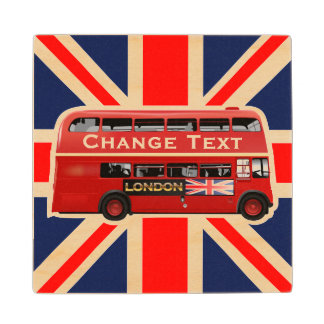 The Red London Bus Wood Coaster