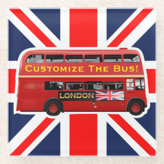 The Red London Double Decker Bus Glass Coaster