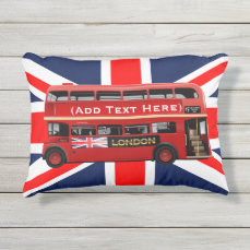The Red London Double Decker Bus Outdoor Pillow